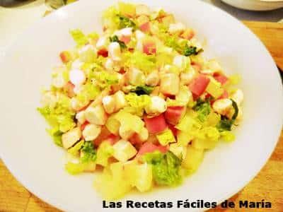 Ensalada de Piña y Frutos del mar sin salsa de yogurt
