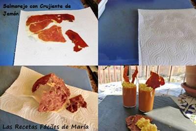 Salmorejo con Crujiente de Jamón receta paso a paso