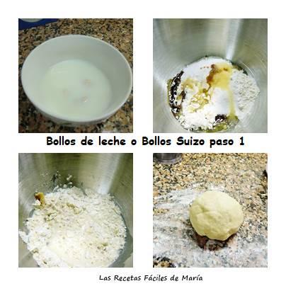 bollos de leche o bollos suizos paso 1