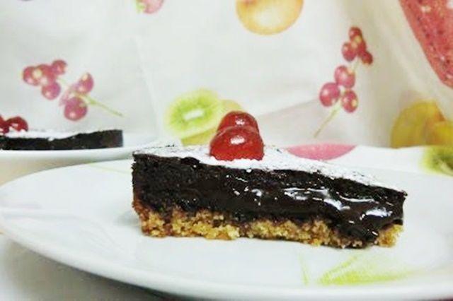 Tarta de chocolate y dulce de leche casero corte y presentación Las Recetas Fáciles de María