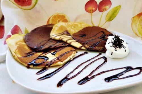 tortitas bicolor con chocolate y nate