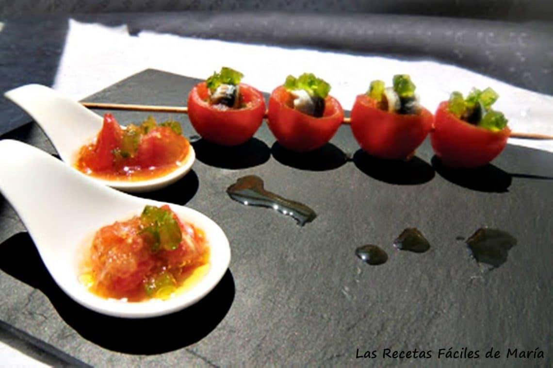 tomates cherry con boquerones y gelatina de ajo y perejil