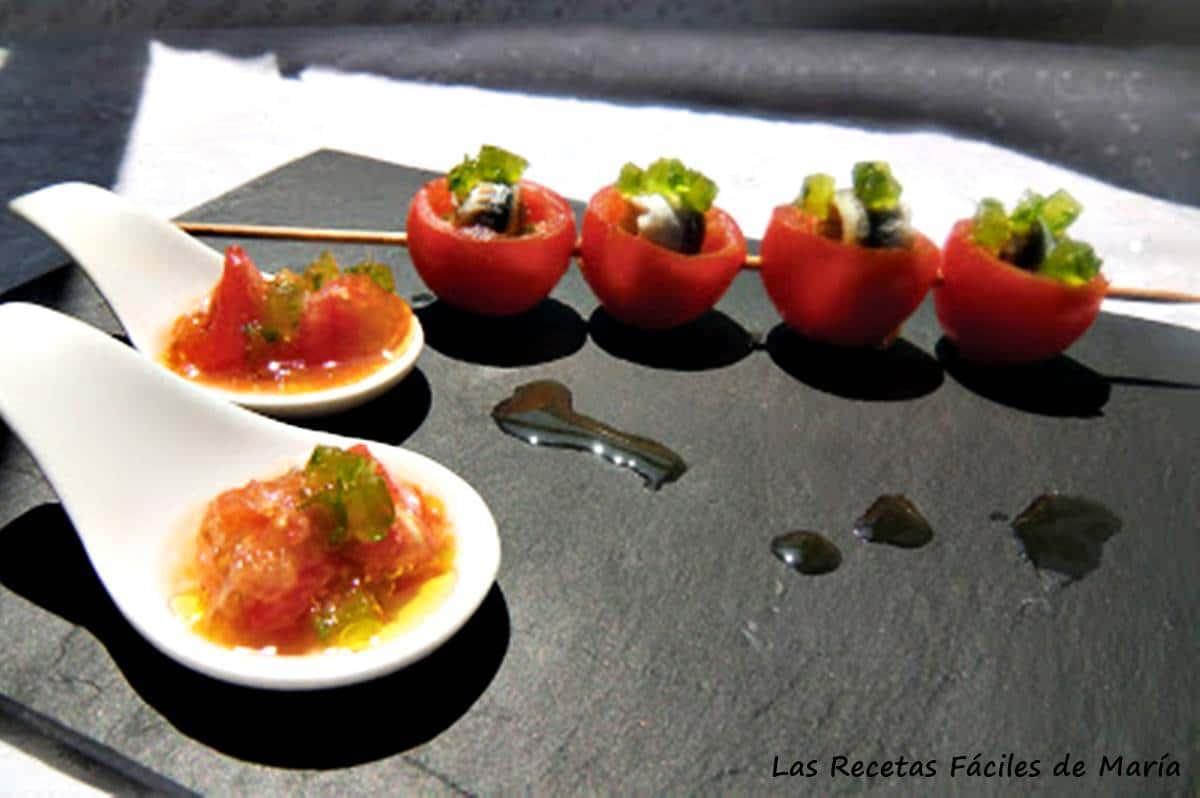 Tomates cherrys con boquerones y gelatina de ajo y perejil Las Recetas Fáciles de María