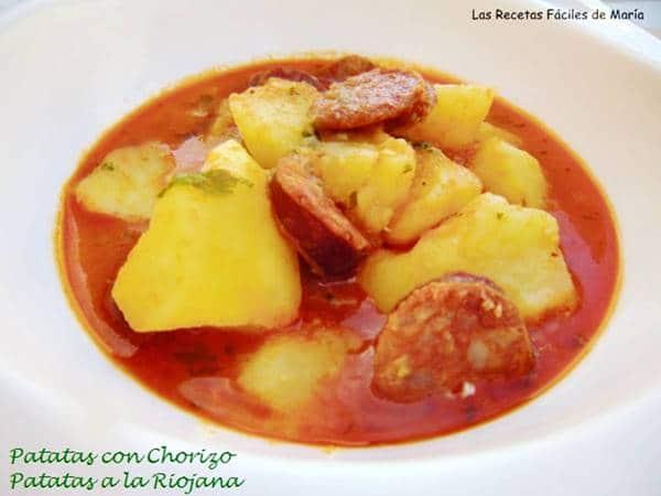 Patatas con chorizo a La Riojana receta Tradicional