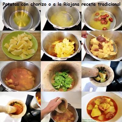 patatas con chorizo a La Riojana receta tradicional paso a paso
