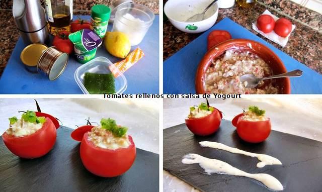 tomates rellenos con salsa de yogur paso a paso