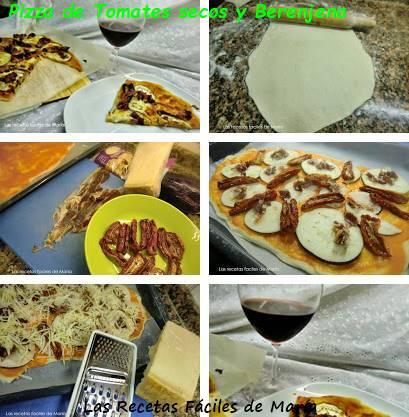 Pizza de tomates secos y berenjena receta paso a paso