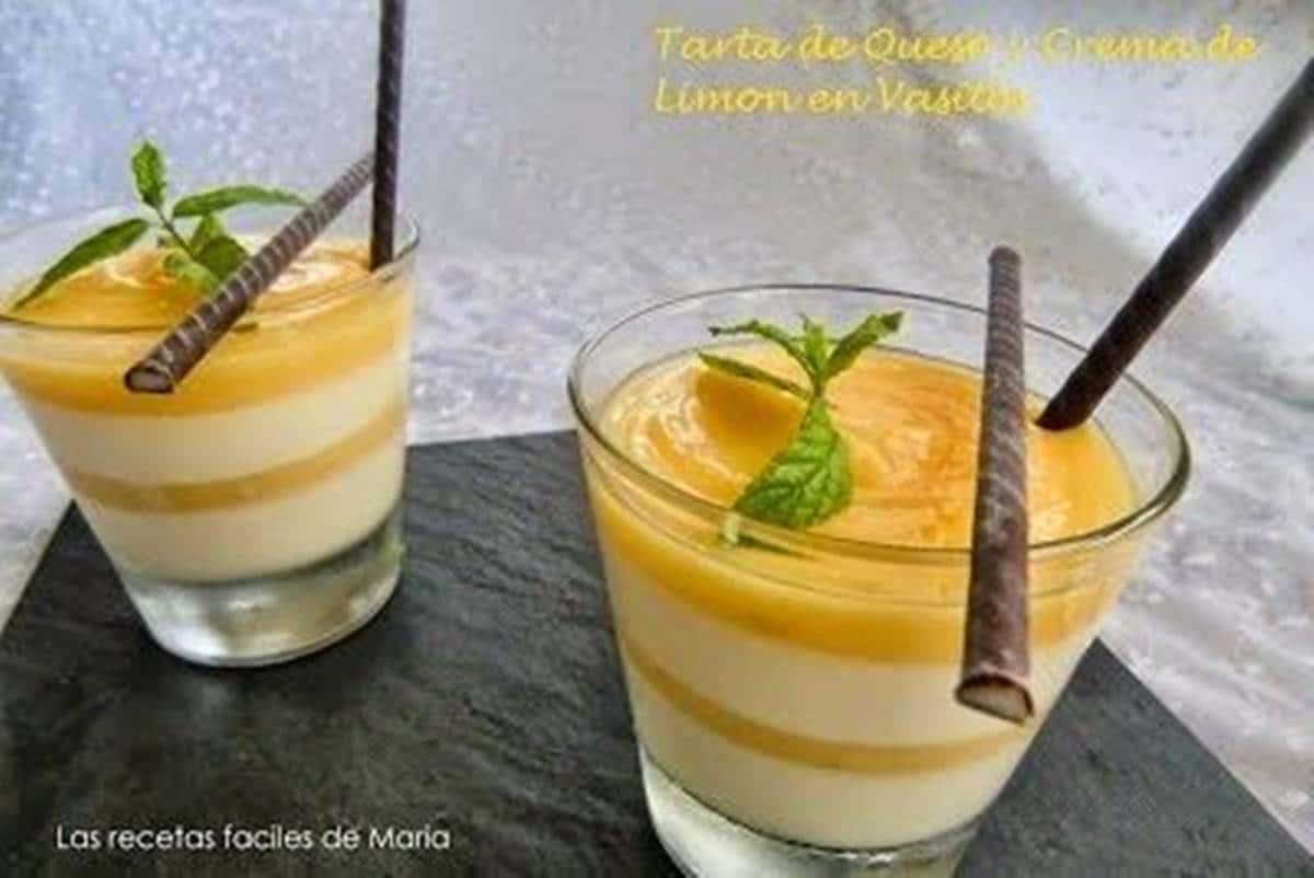 Tarta de Queso y Crema de limón en Vasitos receta de postre