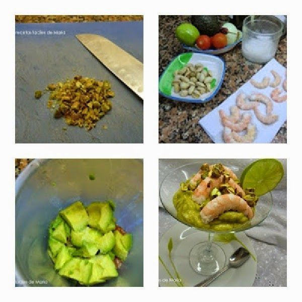 guacamole con langostinos y crujiente de pistachos