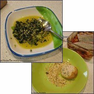 ajo,perejil fresco y aceite de oliva junto pan rallado ingredientes para cocinar corvina al horno con patatas y verduras