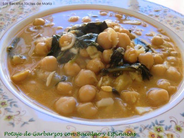 Las recetas f ciles de mar apotaje de garbanzos con - Potaje con bacalao y espinacas ...