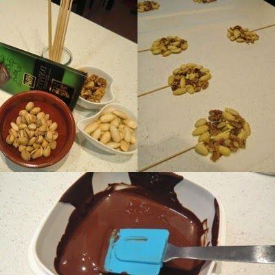 piruletas de chocolate crujiente