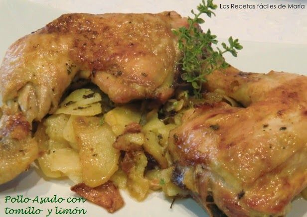 pollo asado con tomillo y limón