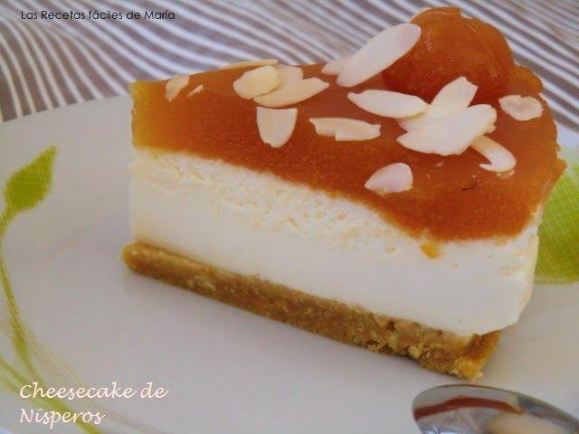Receta Cheesecake, Tarta de Queso con Nísperos corte de la tarta