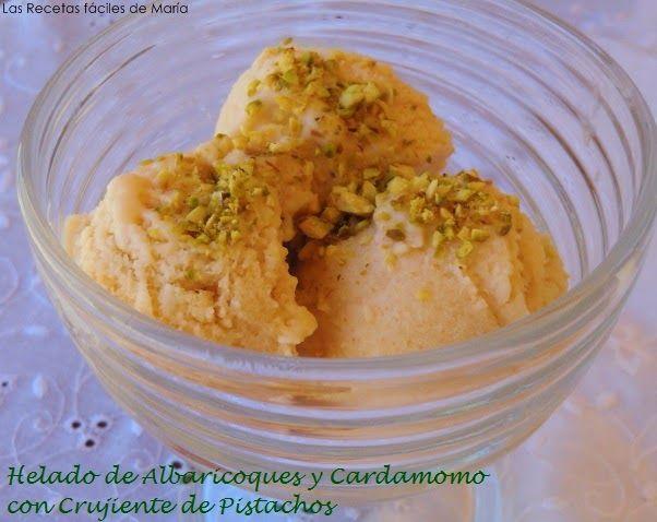 helado de albaricoques y cardamomo con crujiente de pistachos