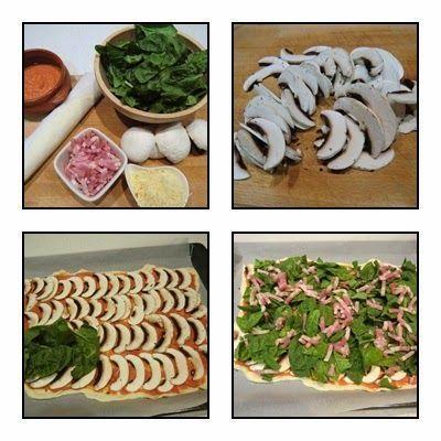 Pizza de Espinacas con Champiñones y Bacon paso 1
