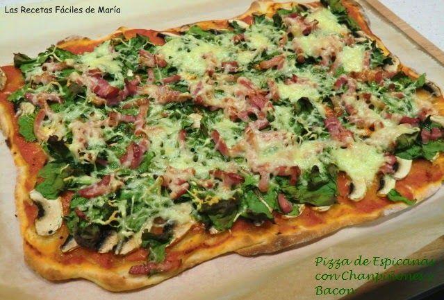 Pizza de Espinacas con Champiñones y Bacon