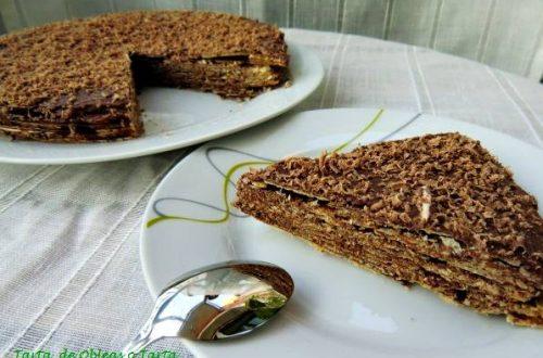 receta de tarta de obleas o tarta huesitos