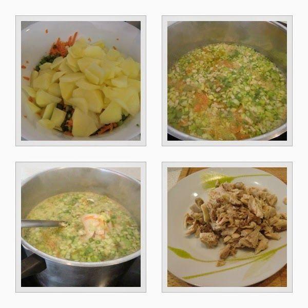 como se hace la sopa de pollo con verduras