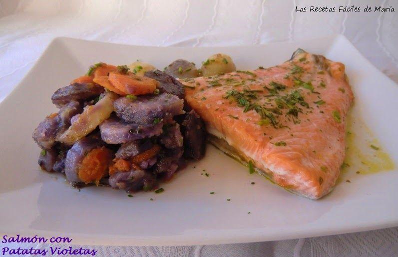 Salmón al Horno con patatas violeta