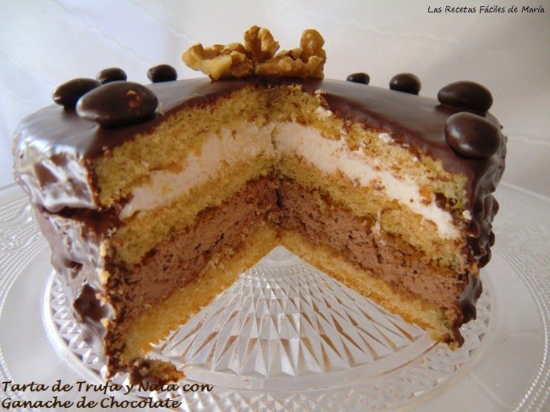 tarta de trufa y nata con ganache de chocolate corte