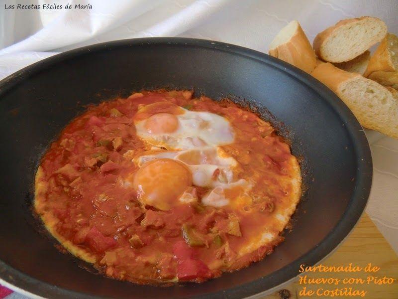 Sartenada de huevos con Pisto y Costilla