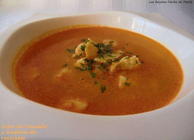 receta sopa de pescado y gambas de reciclaje sin gluten
