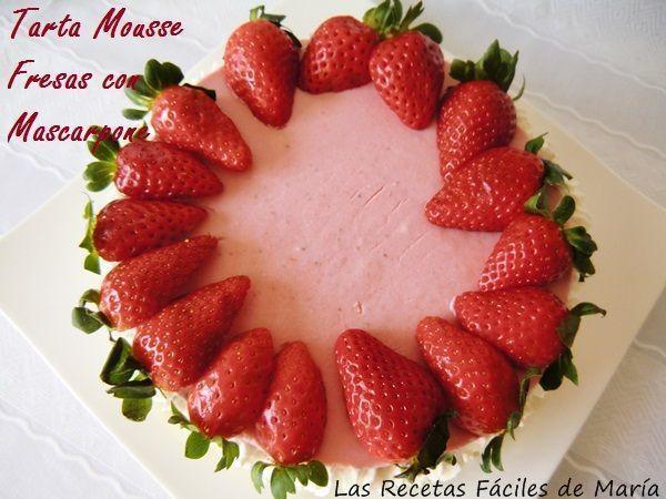 Receta Tarta Mousse de Fresas con Mascarpone