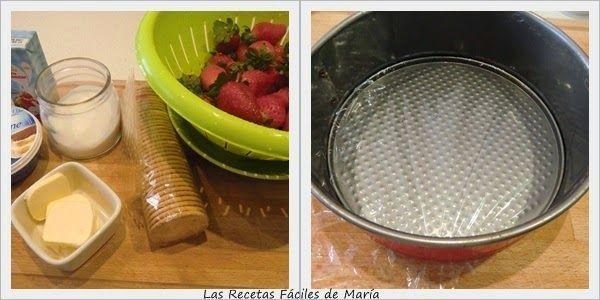 Receta de Tarta Mousse de Fresas con Mascarpone paso 1