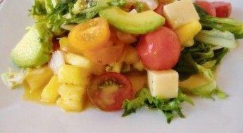 receta Ensalada de Frutas y Quesos selectos con vinagreta de lima y menta