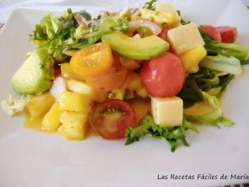 receta Ensalada de Frutas y Quesos selectos con vinagreta de lima, menta y vinagre de manzana