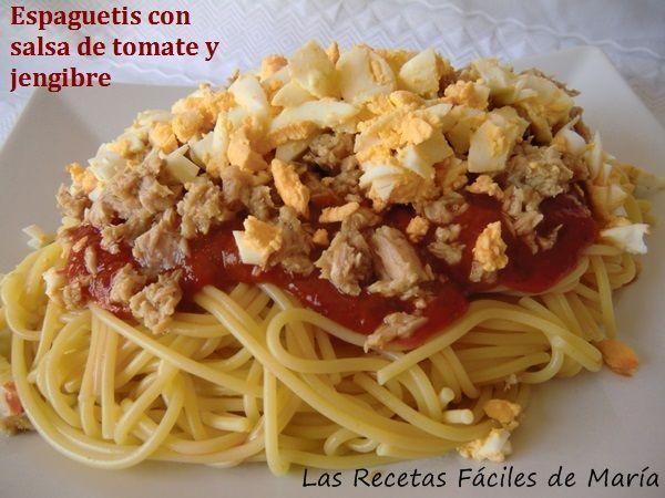 Espaguetis con salsa de tomate y jengibre