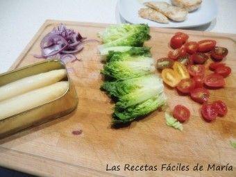 Ensalada capricho de pollo y espárragos-ingredientes