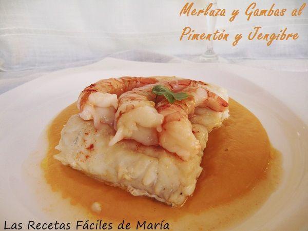merluza y gambas al pimentón y jengibre sin gluten Las Recetas Fáciles de María