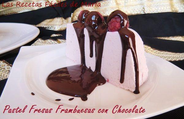 Pastel de Fresas y Frambuesas con Chocolate, delicioso postre fácil para celebrar cualquier ocasión, una tarta fría que harán hasta tus niños.