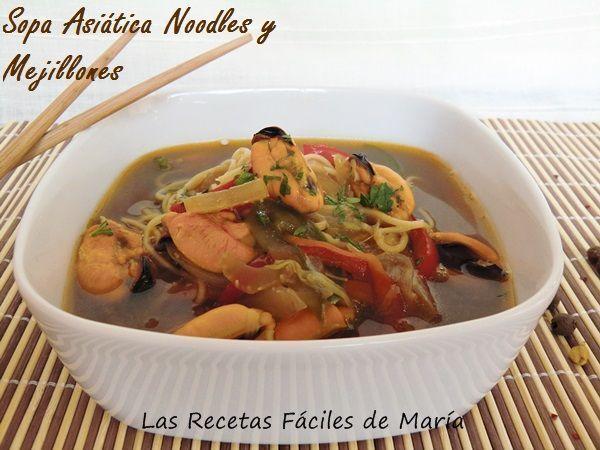 sopa china noodles y mejillones