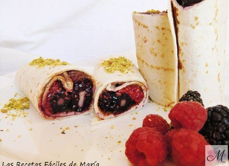 receta wraps de chocolate y frutos rojos