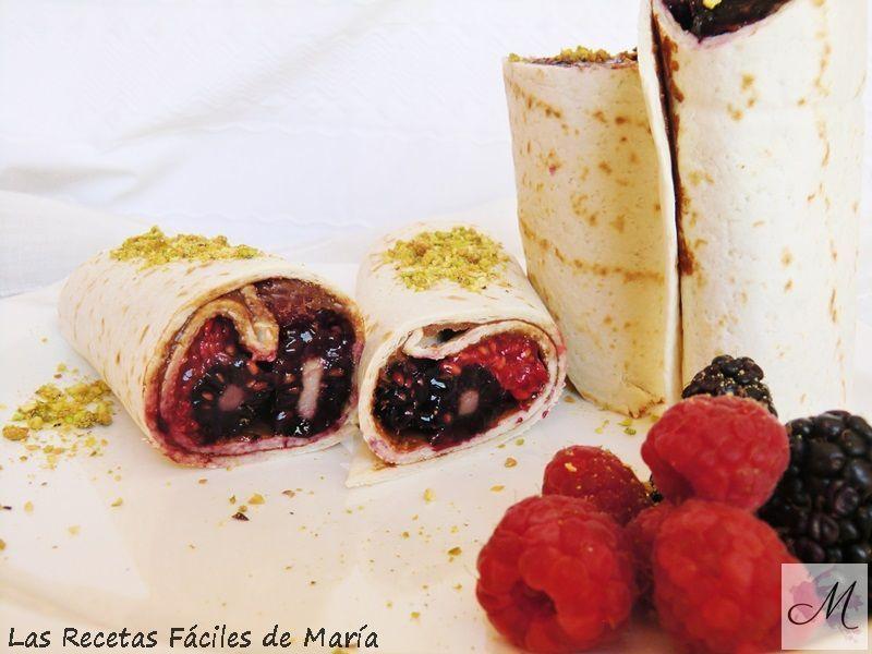Wraps de Chocolate y Frutos Rojos para Recetas con chocolate las más originales