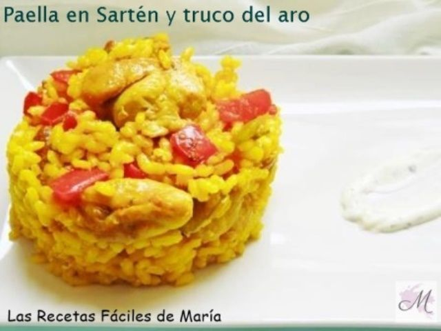 Paella de Pollo en sartén y truco del aro sin gluten