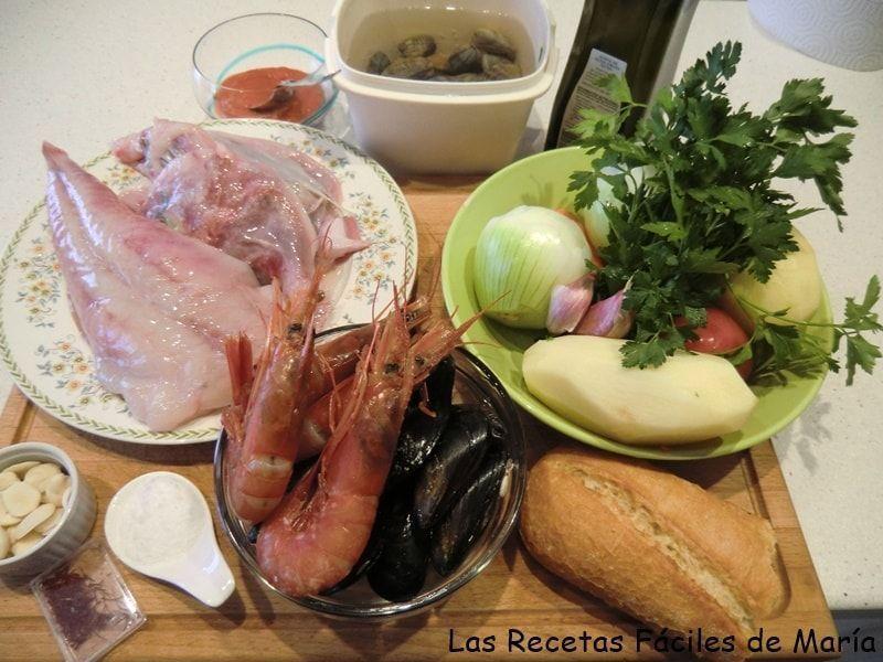 ingredientes suquet de rape y mariscos mediterráneo