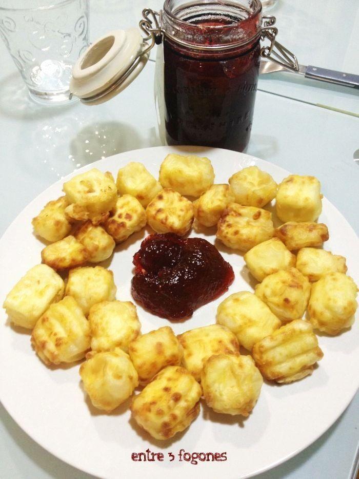 receta queso frito con confitura de fresas-
