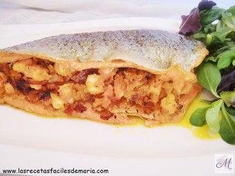 receta Trucha rellena de Langostinos y Jamón