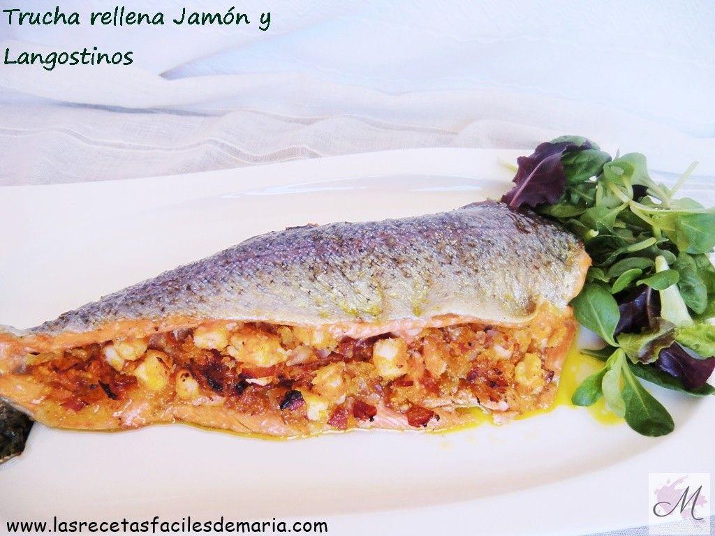 receta sin gluten Trucha rellena langostinos y jamon celiacos