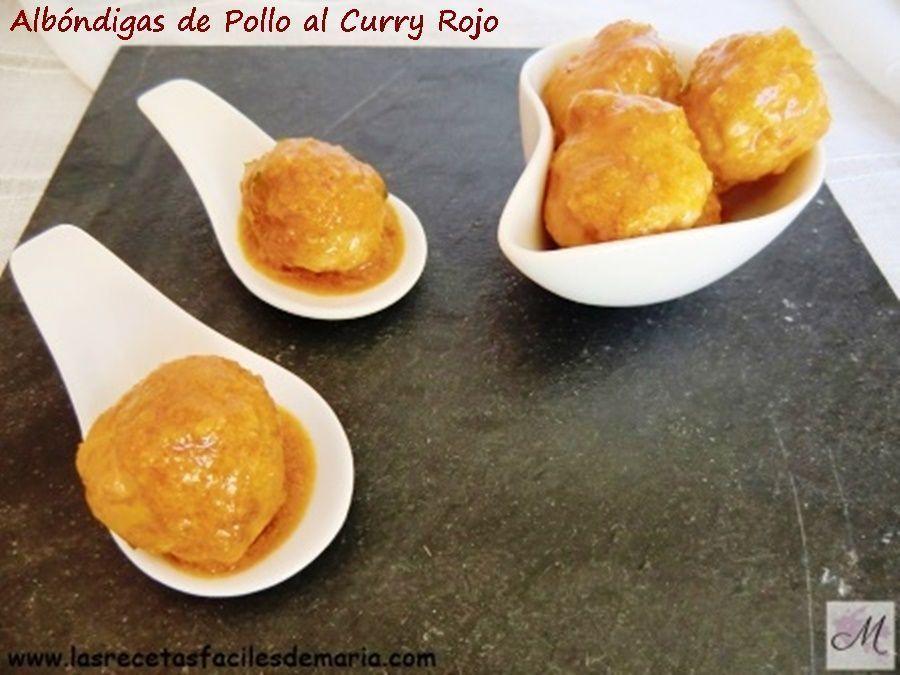 receta de albóndigas de pollo al curry rojo