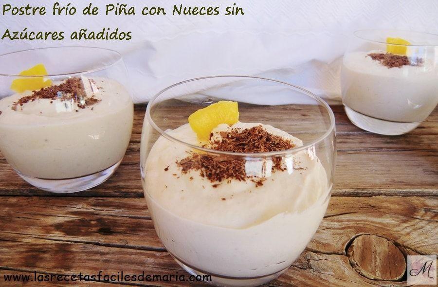 receta sin gluten Postre frío de Piña con Nueces sin Azúcares añadidos