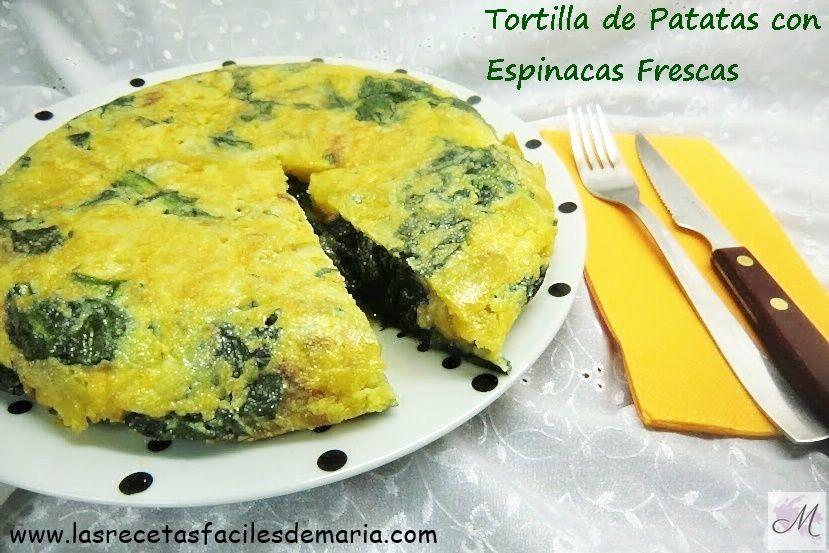 Tortilla de Patatas y Espinacas frescas jugosas-https://www.lasrecetasfacilesdemaria.com/2016/11/tortilla-de-patatas-con-espinacas-frescas-jugosa.html/