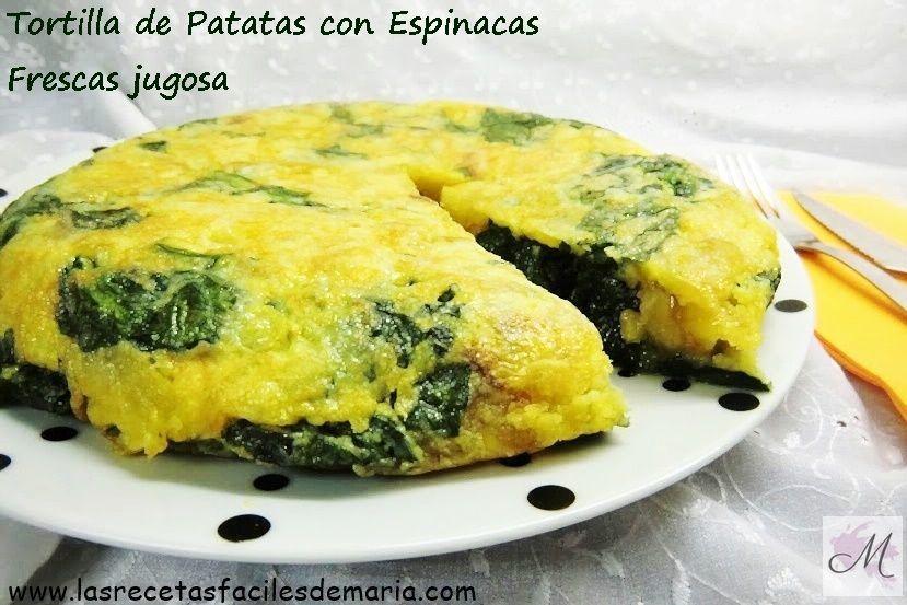 receta de Tortilla de Patatas y espinacas frescas jugosa