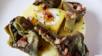 receta patatas en dos texturas con alcachofas