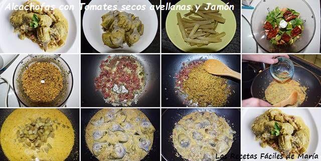 alcachofas con tomates secos y avellanas receta paso a paso