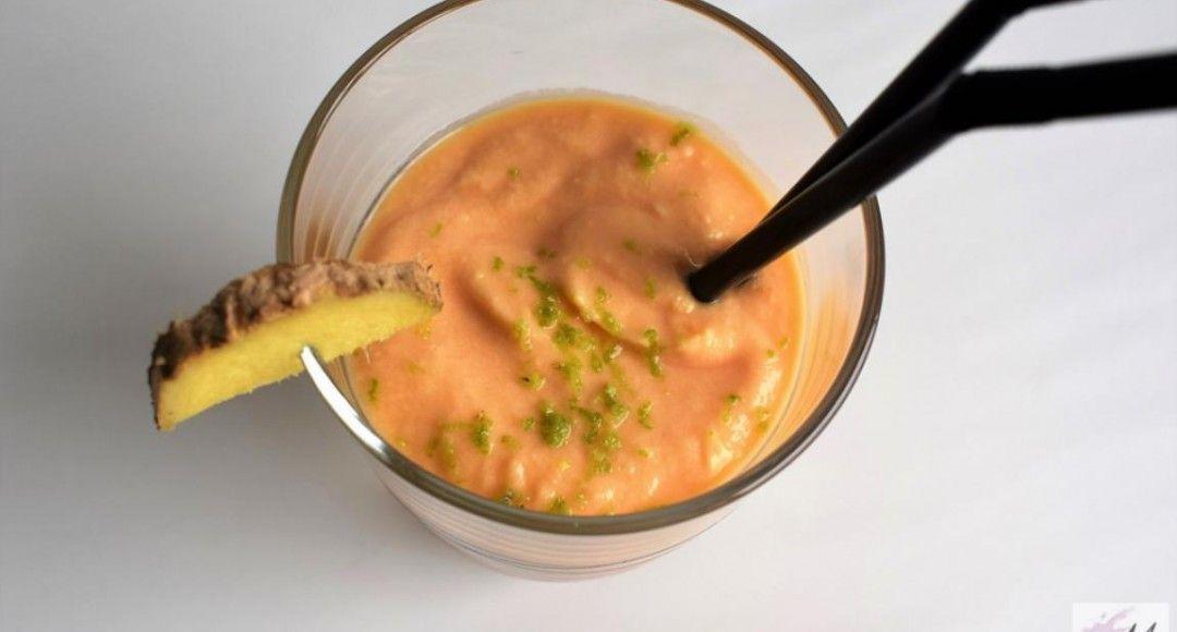 batido de papaya y jengibre presentación receta bebida